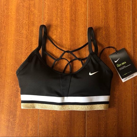 Nike Other - Nike Indy Icon Clash Sports Bra Black/White/Gold